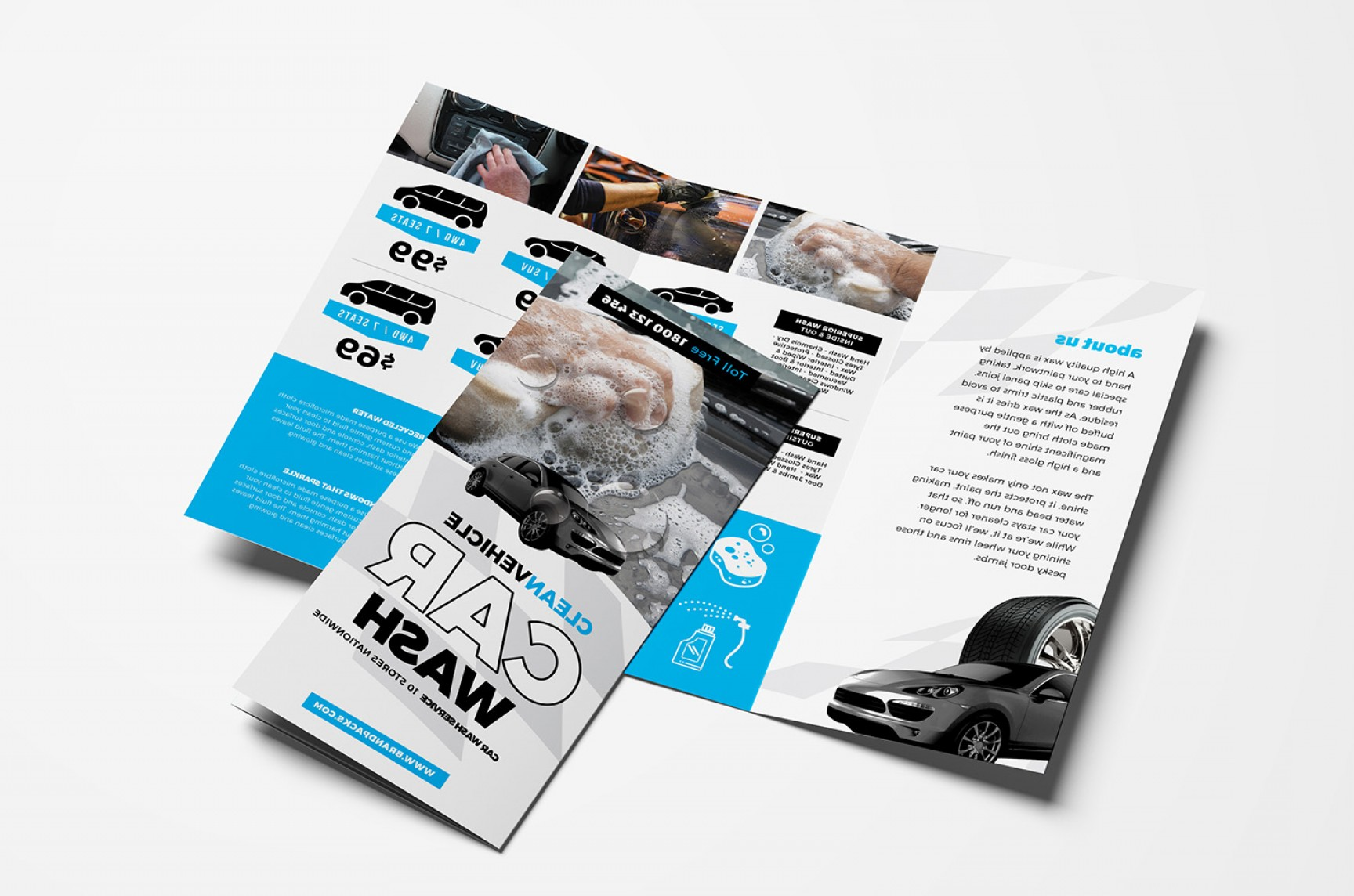 Nationwide Insurance Vector: Car Wash Tri Fold Brochure Template