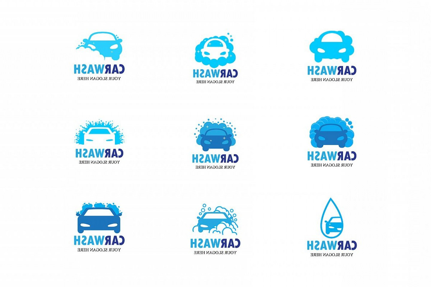 Car Wash Vector Graphics: Car Wash Vector Logo Emblem Icon Symbol Emblem