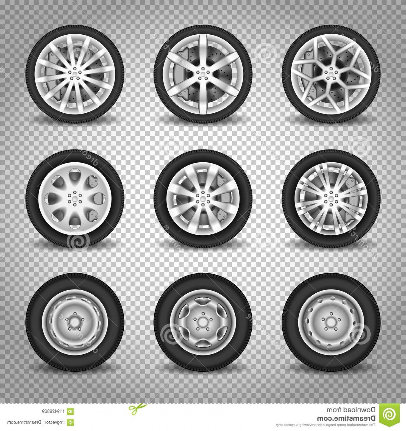 MB Wheels Vector Chrome: Car Wheels Set Vector Transparent Background Isolated Black Automobile Tyre Image