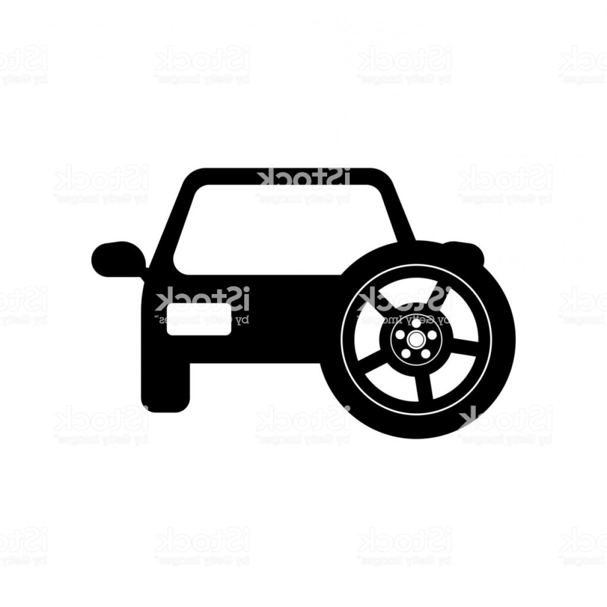 Jeep Tire Vector: Car With Spare Tire Icon Vector Icon Simple Element Illustration Car With Spare Gm