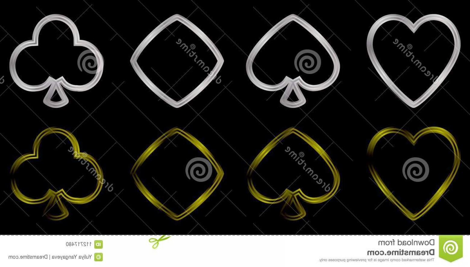 Card Suits Vector Outlines: Card Suits Silver Gold Black Background Voluminous Figures Bubi Cross Peaks Worms Metal Outline Image