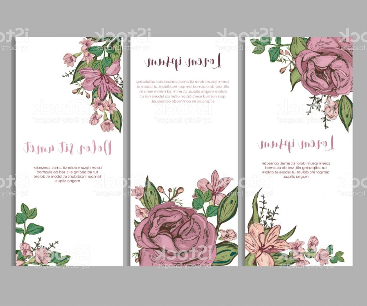 Beautiful Flowers Vector Graphic: Card Templates With Beautiful Flowers Gm