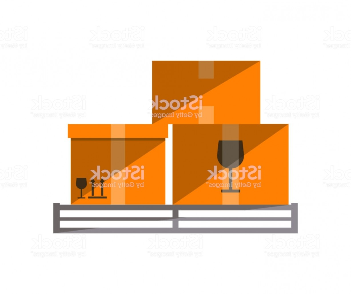 Pallet Vector Graphic: Cardboard Boxes On Pallet Vector Icon Gm