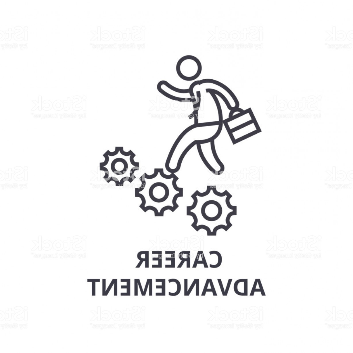 Vector Professional Goal: Career Advancement Thin Line Icon Sign Symbol Illustation Linear Concept Vector Gm