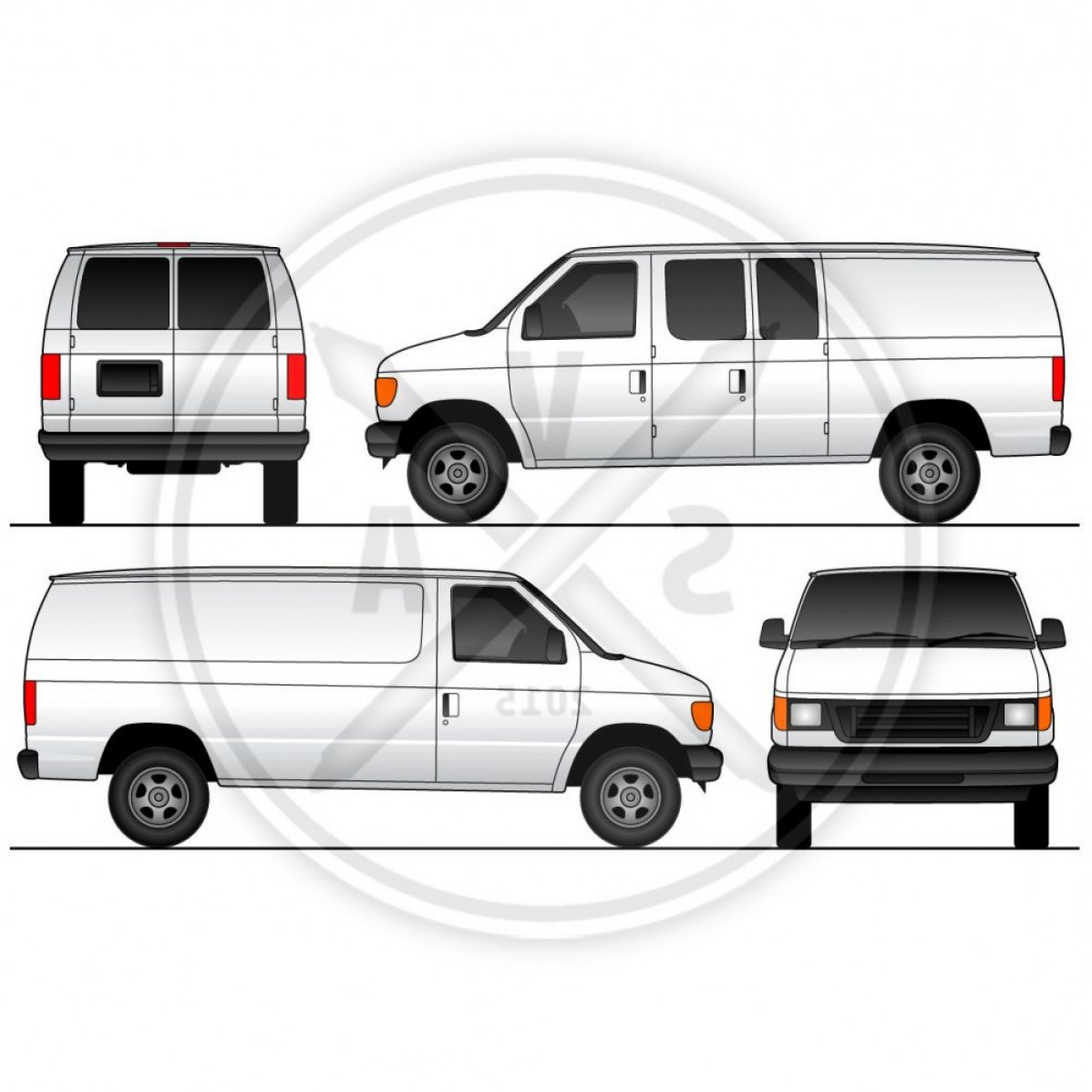 Ford Vector Art: Cargo Van Swinging Doors Wrap Template