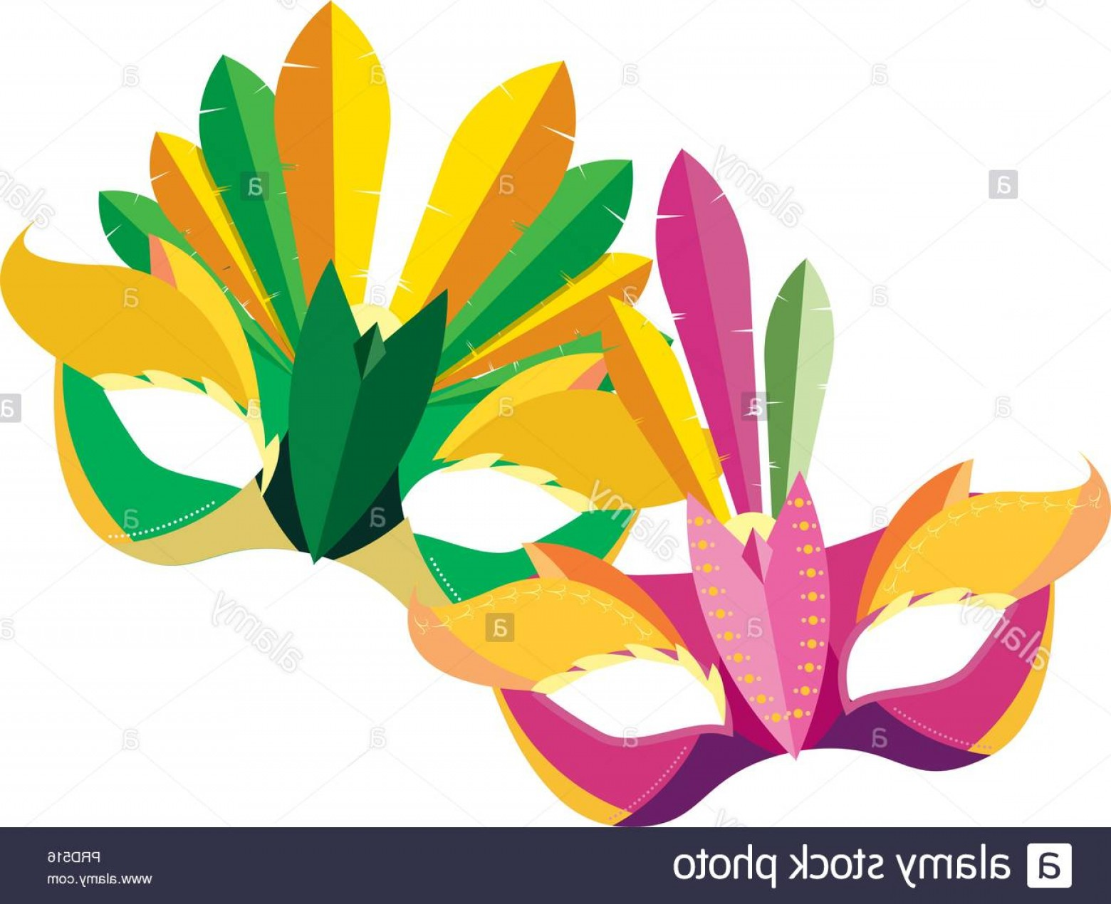 Carnival Vector Feather Art: Carnival Festival Masks Feathers Ornament Vector Illustration Image
