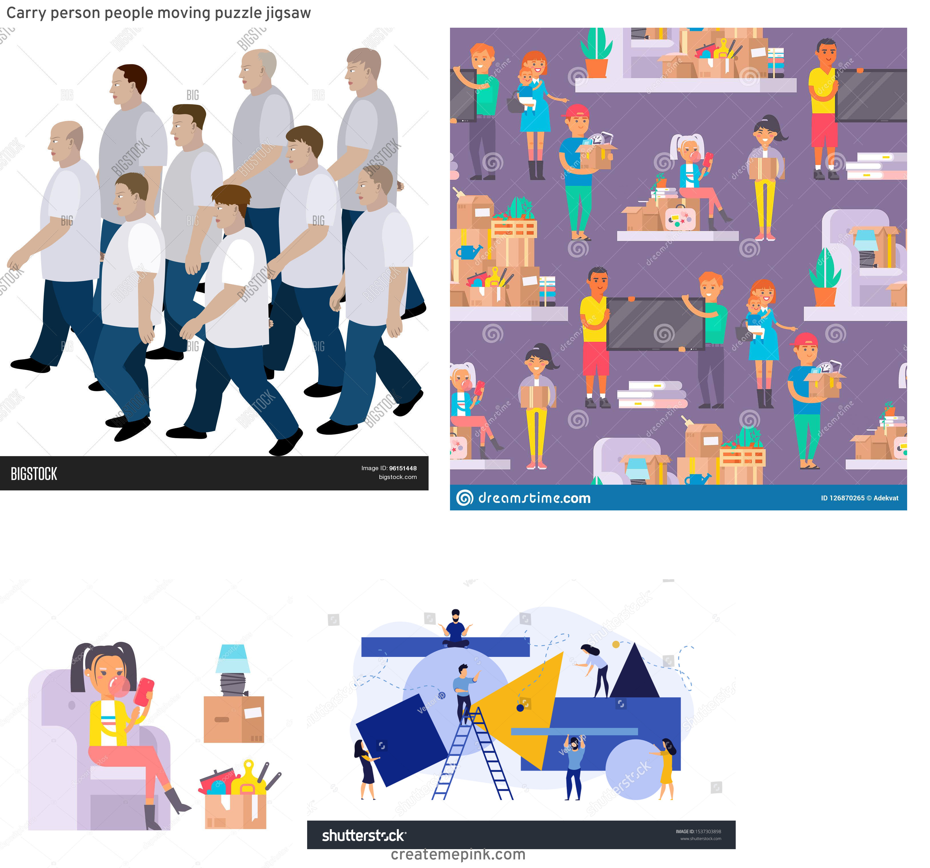 Vector Person Moving: Carry Person People Moving Puzzle Jigsaw