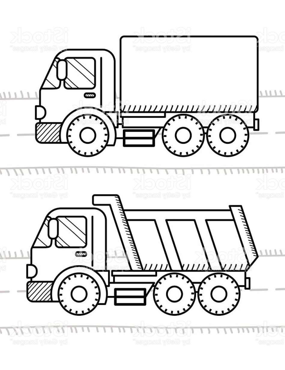 Dump Truck Vector Black And White: Cars And Vehicles Coloring Book For Kids Dump Truck Truck Gm