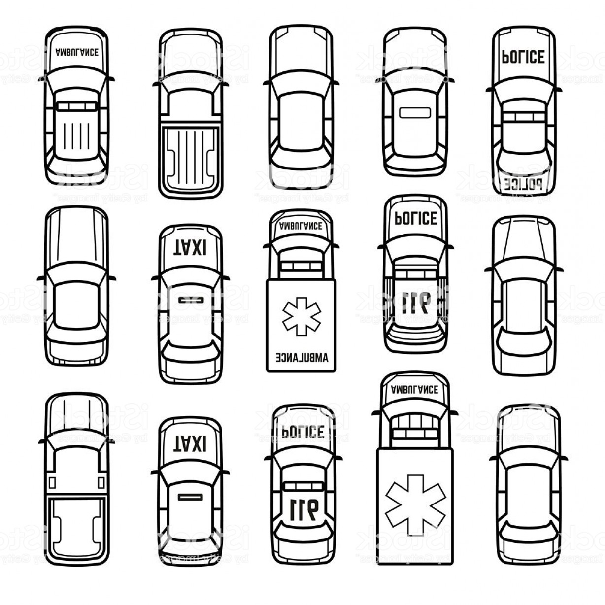 In Icon Stock Vector: Cars Top View Thin Line Vector Icons Gm