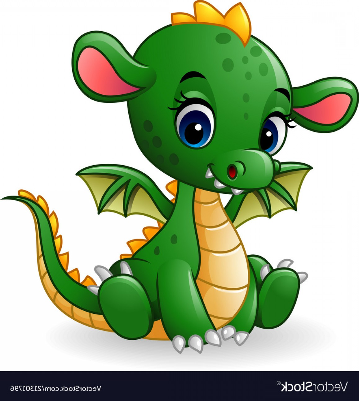 Baby Dragon Silhouette Vector: Cartoon Baby Dragon Sitting Vector