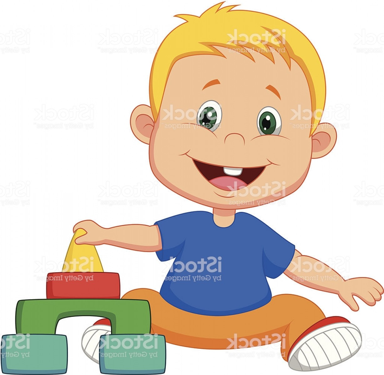 Vector Block Play: Cartoon Baby Is Playing With Educational Toys Gm