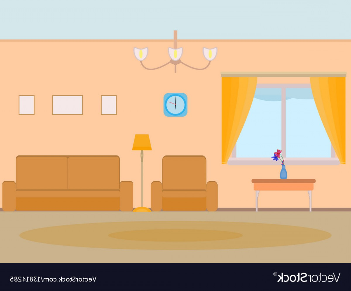 Vector Background For Living Room: Cartoon Background Living Room Vector