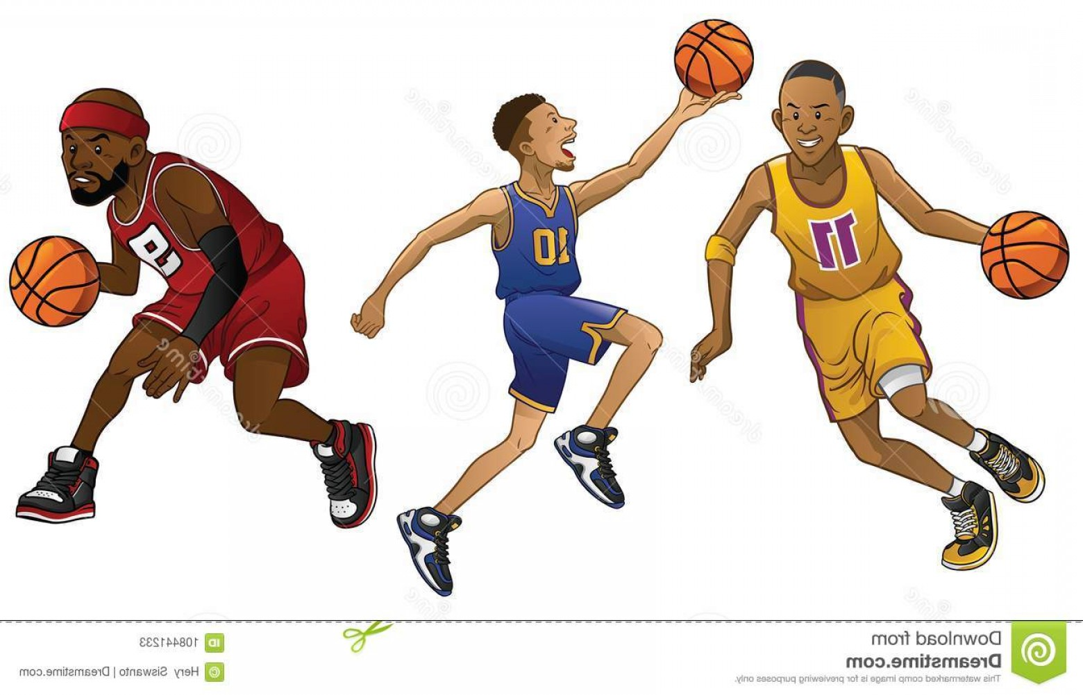 Cartoon Basketball Vector: Cartoon Basketball Players Set Vector Cartoon Basketball Players Set Image