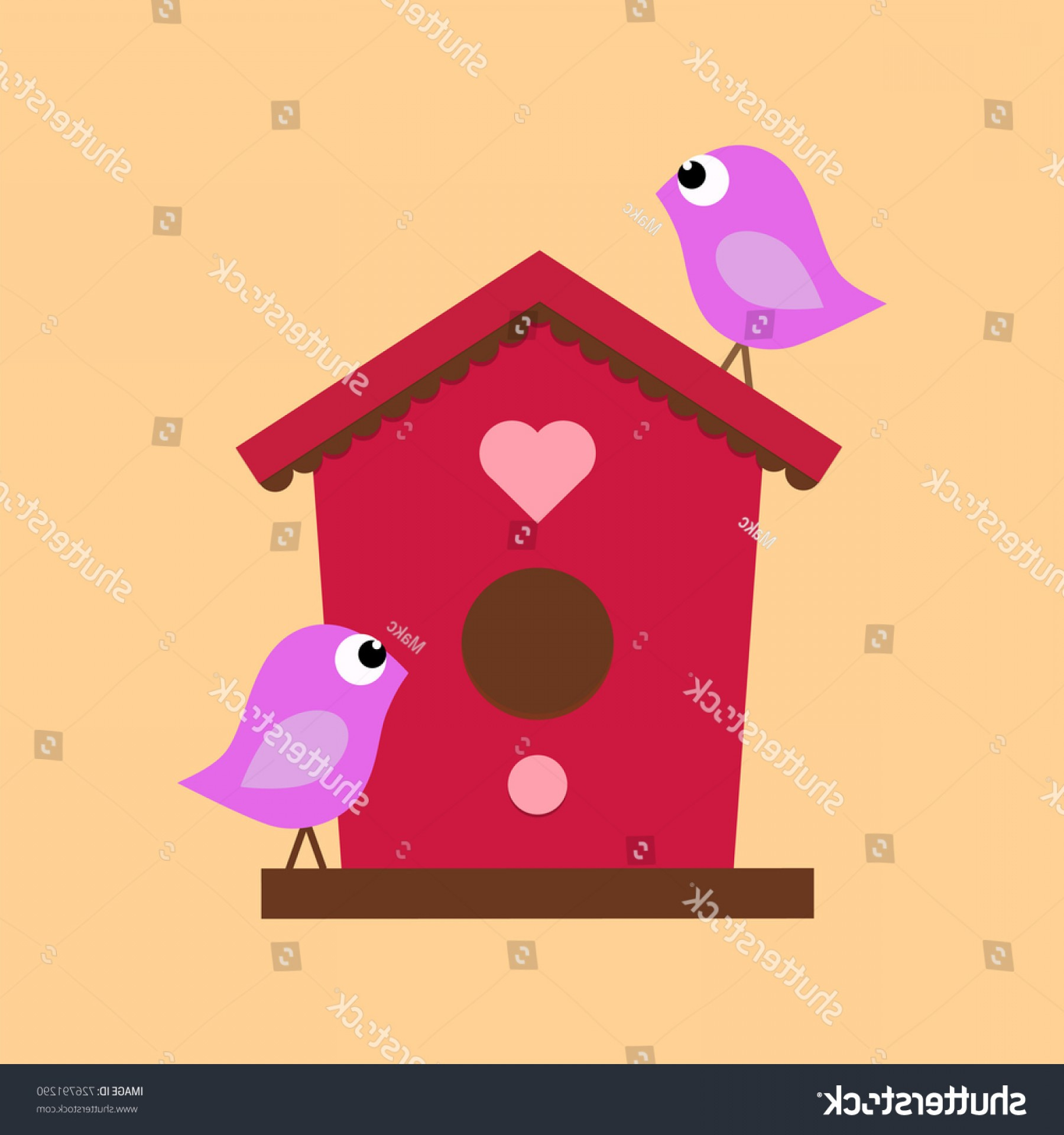 Vector Bird House: Cartoon Birdhouse On Beige Background Two
