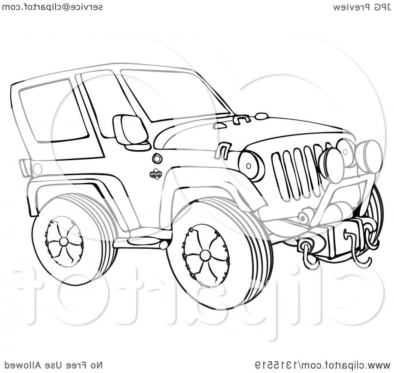 Vector Clip Art Of Jeep: Cartoon Black And White Jeep Wrangler Suv On Rocks