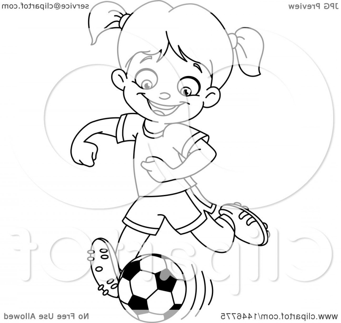 Vector Football Girl: Cartoon Black And White Lineart Girl Playing Soccer