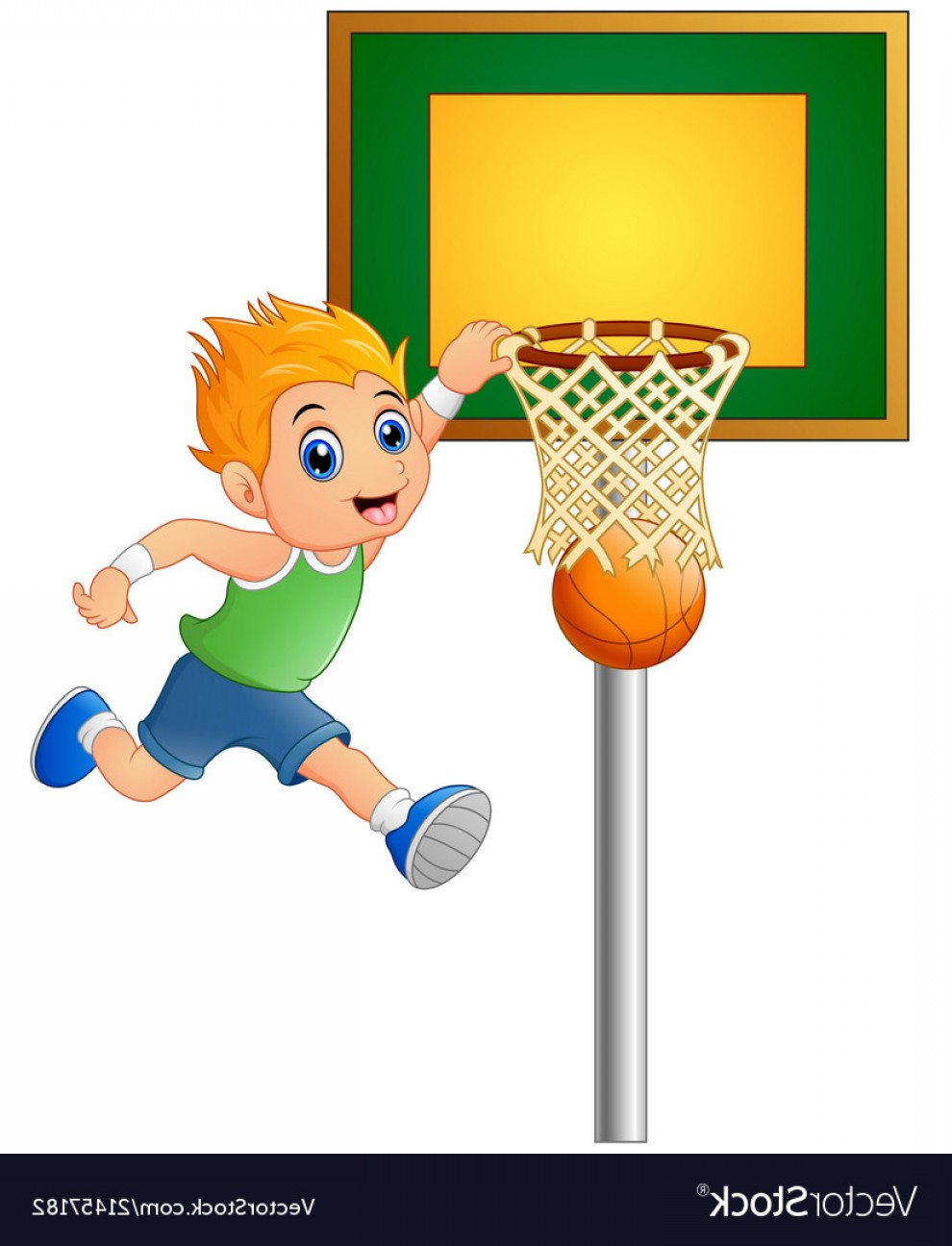 Cartoon Basketball Vector: Cartoon Boy Playing Basketball Vector
