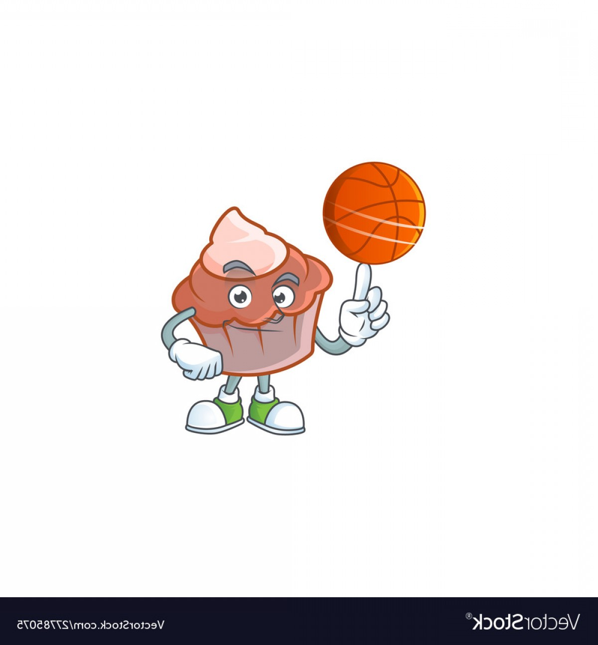 Cartoon Basketball Vector: Cartoon Brioche With Cream With Holding Basketball Vector