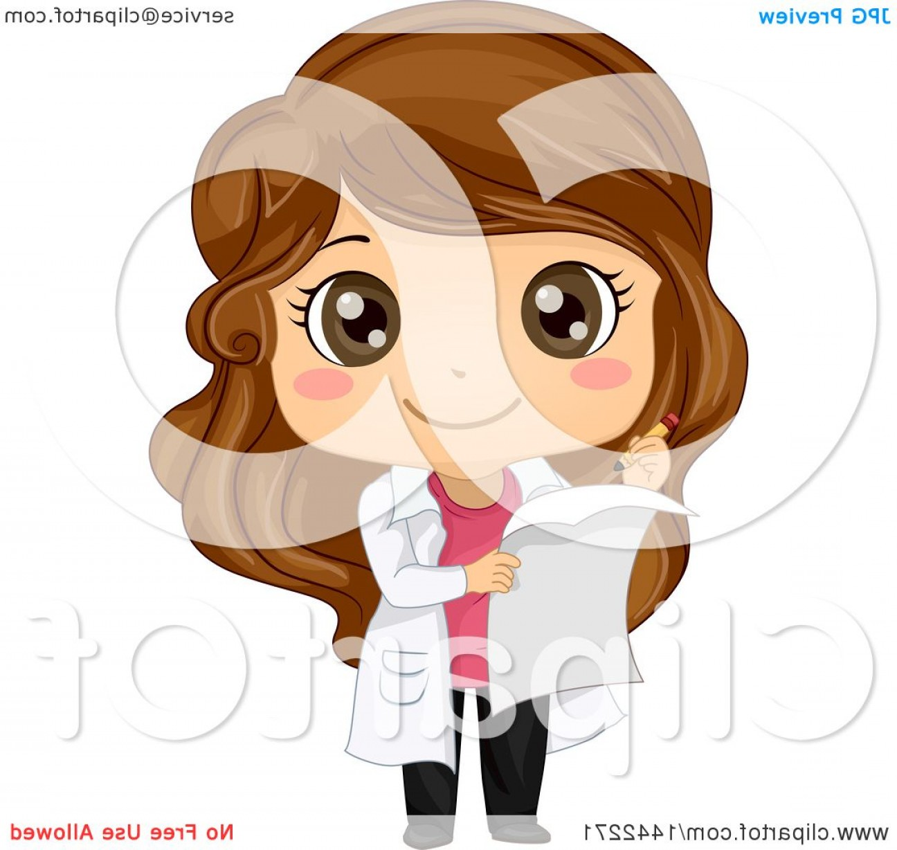 Lab Coat Cartoon Vector: Cartoon Brunette Caucasian Girl In A White Science Lab Coat Taking Notes