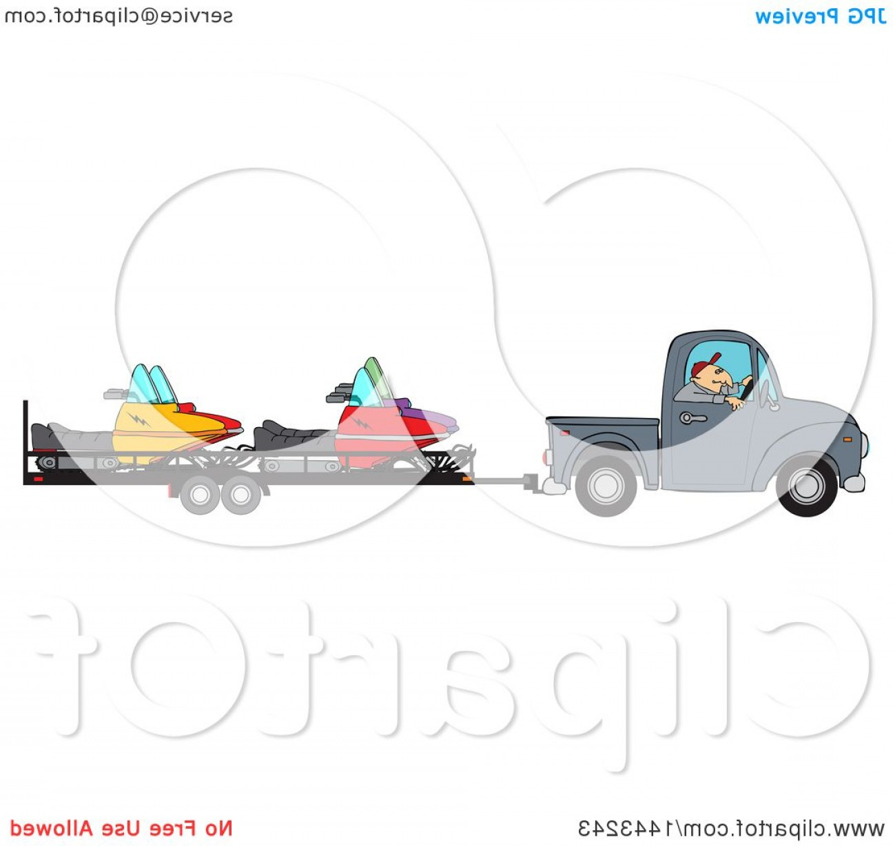 Towing Vector Clip Art: Cartoon Caucasian Man Driving A Truck And Towing Snowmobiles On A Trailer