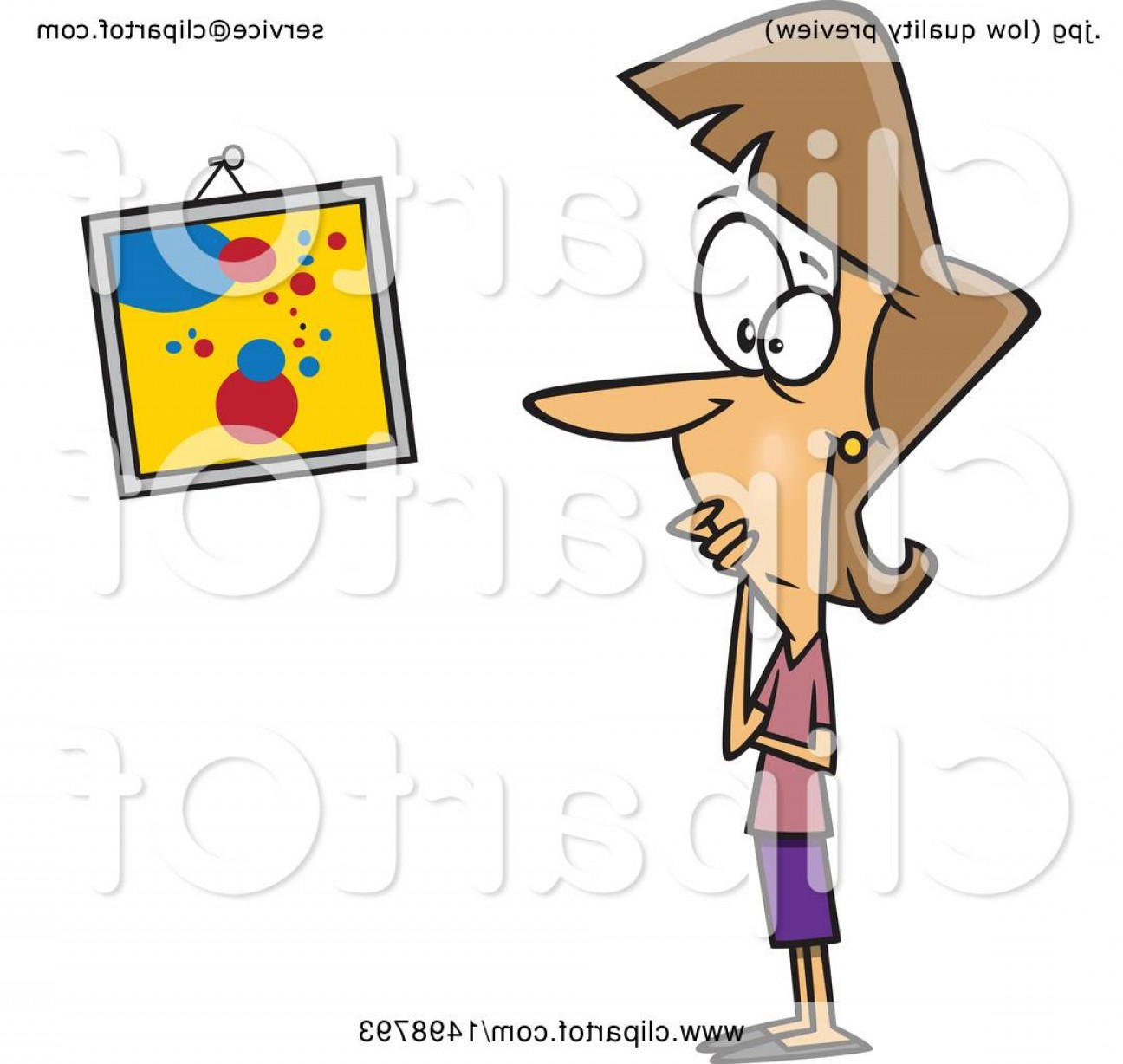 Woman Vector Toon Painter: Cartoon Caucasian Woman Looking At A Crooked Painting