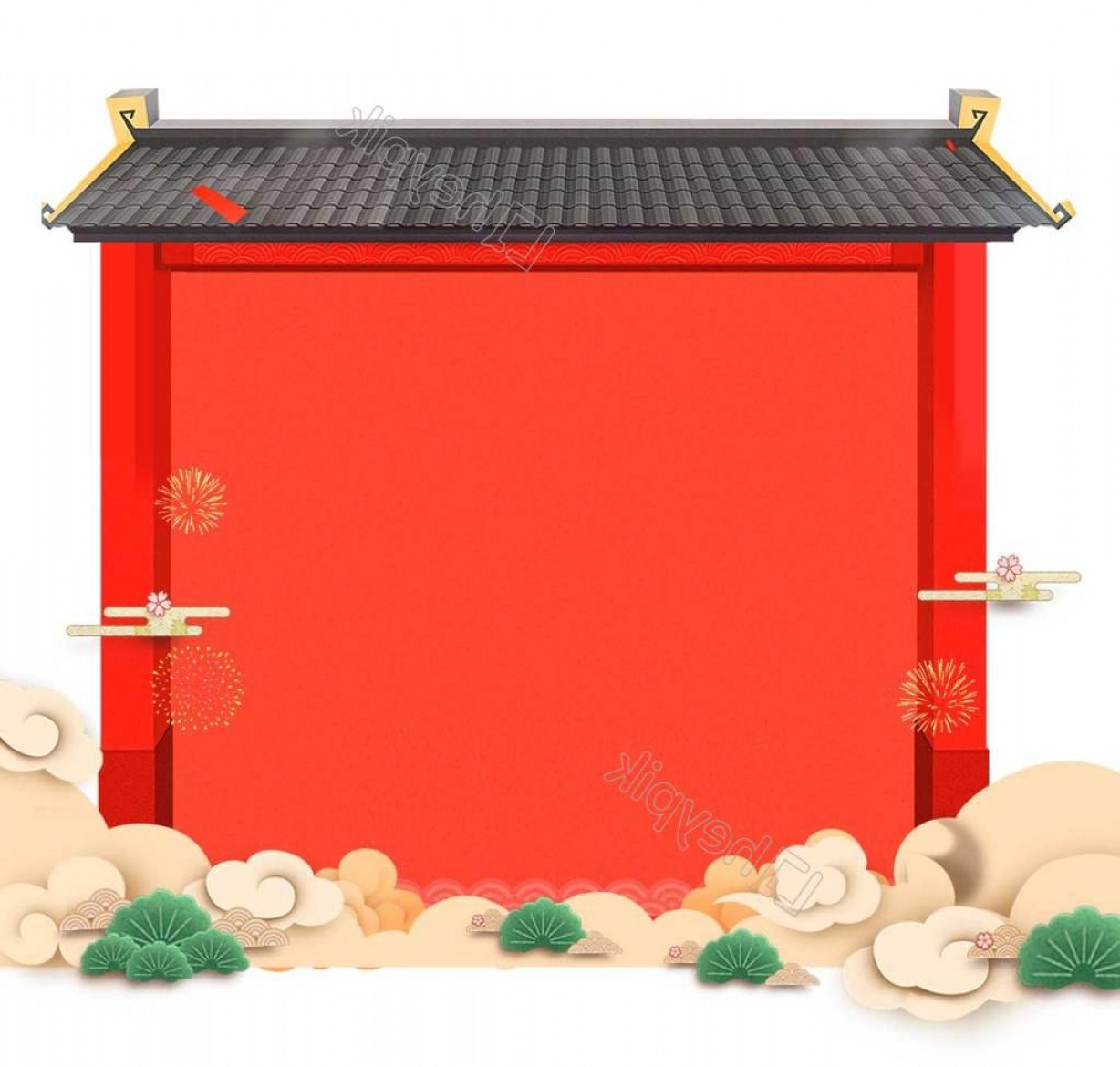 Shed PNG Vector: Cartoon Chinese Red Wall Png Element
