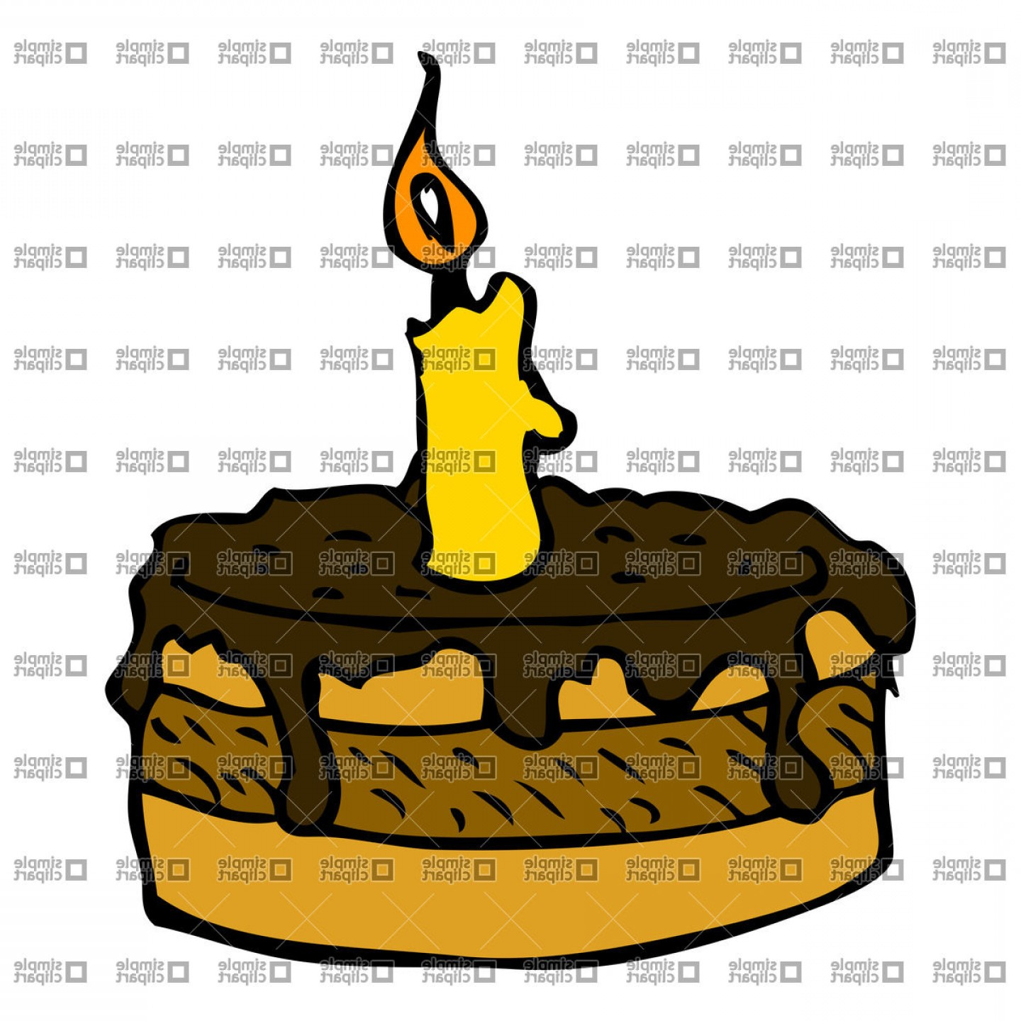 Chocolate Clip Art Vector: Cartoon Chocolate Cake With One Candle Vector Clipart