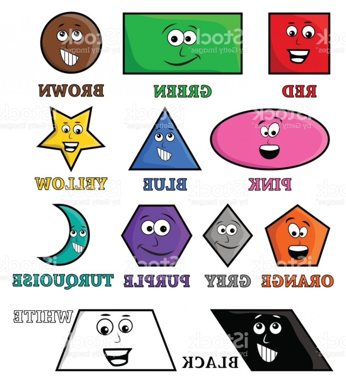 Sign Shapes Vector Art: Cartoon Colors Name And Shape Vector Symbol Icon Design Gm
