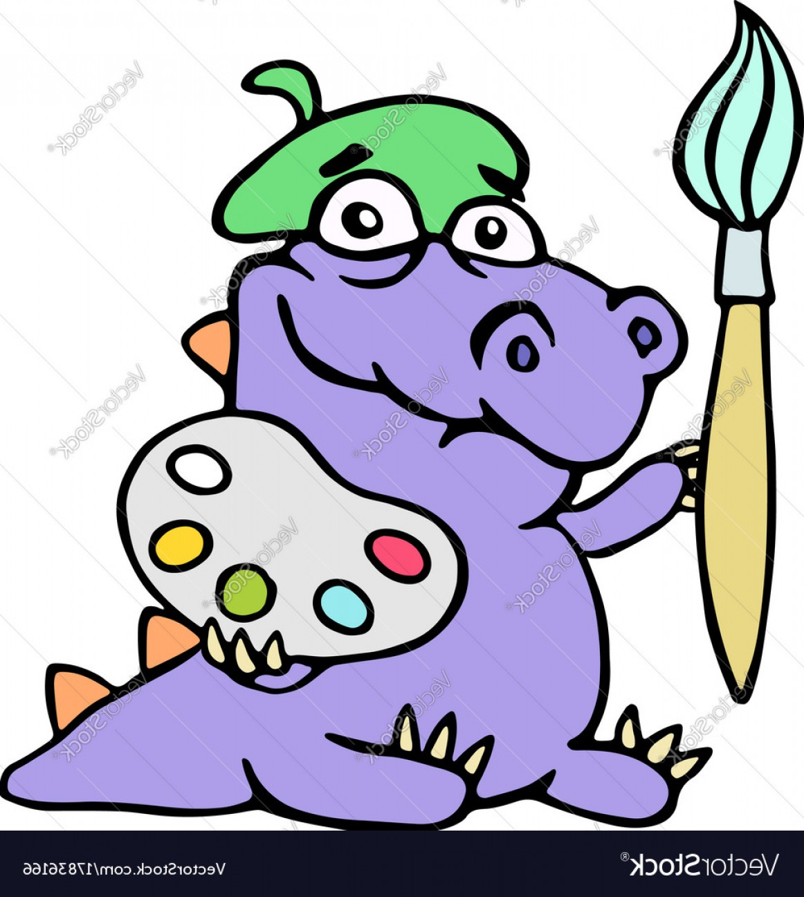 Chibi Vector The Crocodile: Cartoon Croc Artist Painter With Brush And Vector