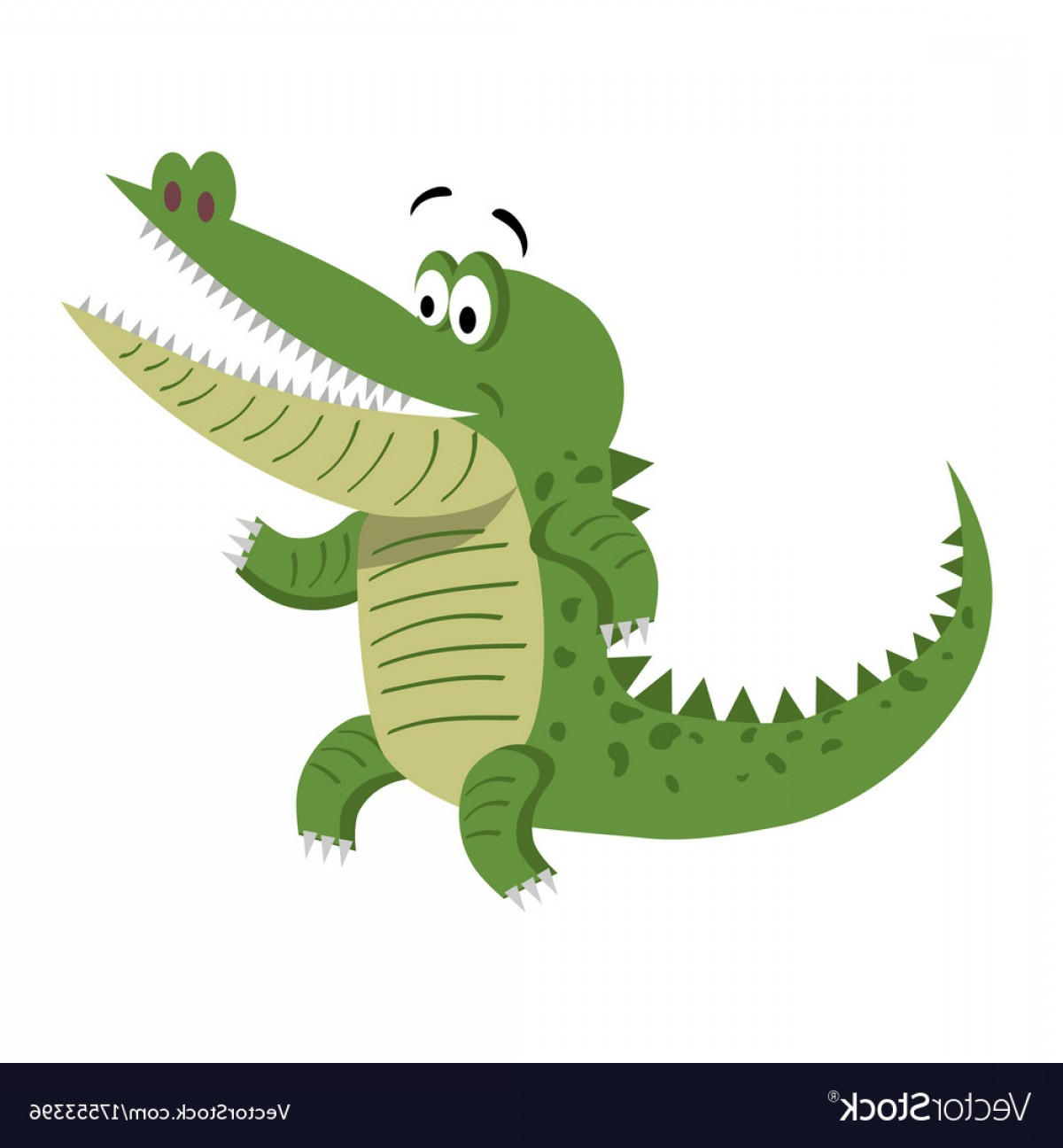 Cartoon Alligator Silhouette Vector: Cartoon Crocodile Standing With Wide Open Mouth Vector