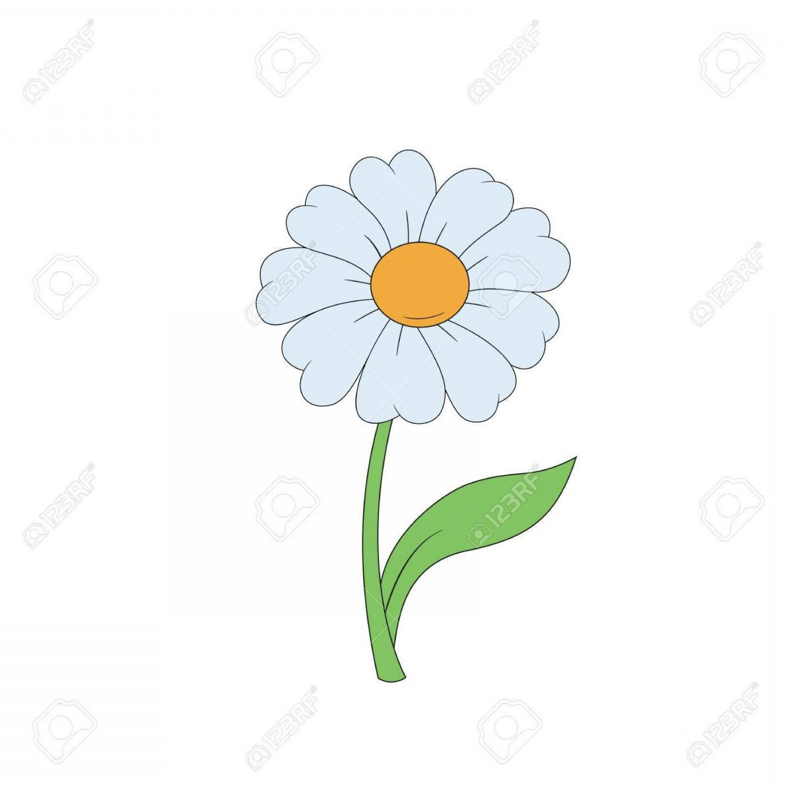 Simple Vector Daisy: Cartoon Daisy Simple Flower On White Background Vector Illustration