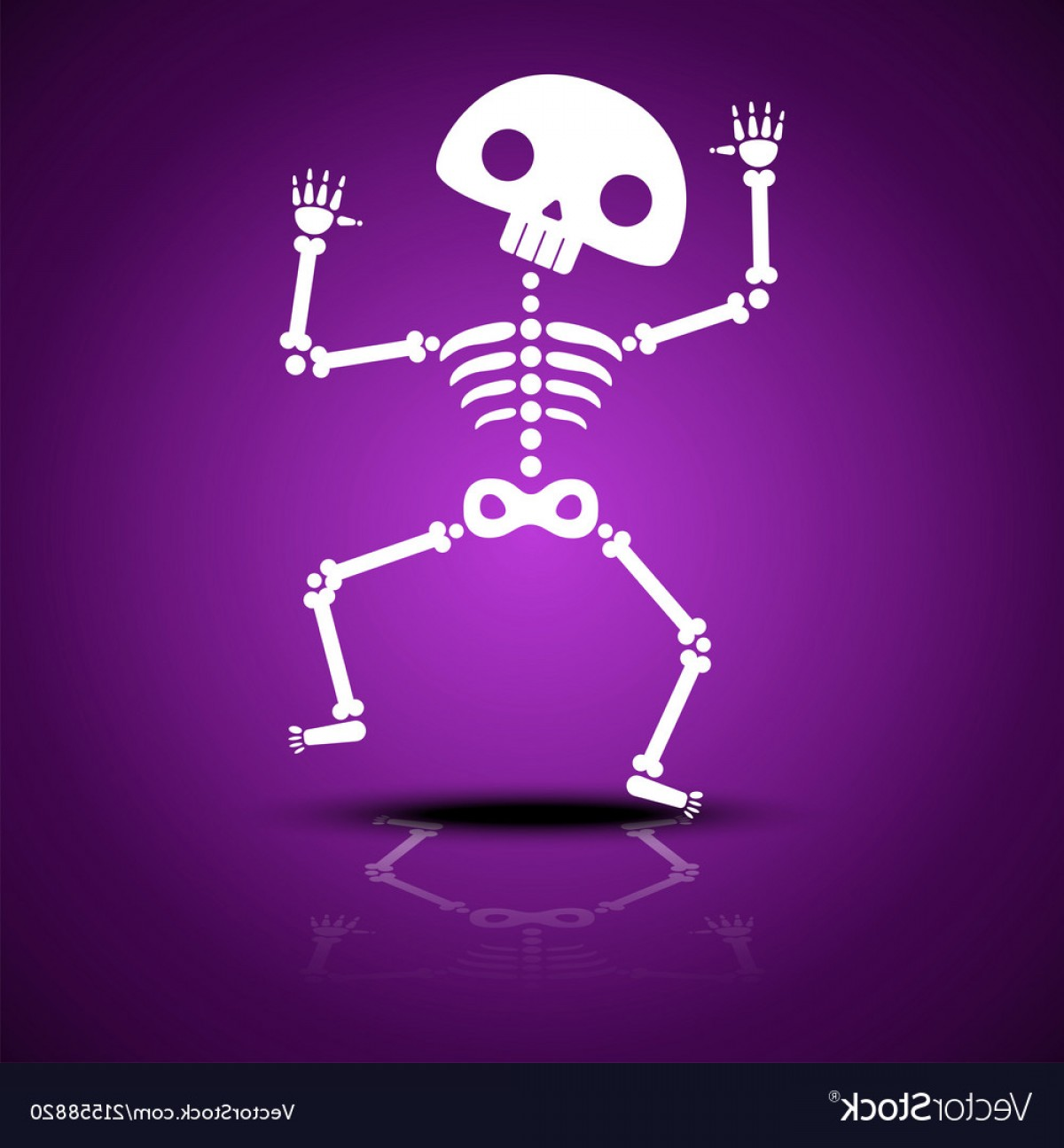 Vector Skeleton Circle Dancing: Cartoon Dancing Skeleton With Reflection On A Vector