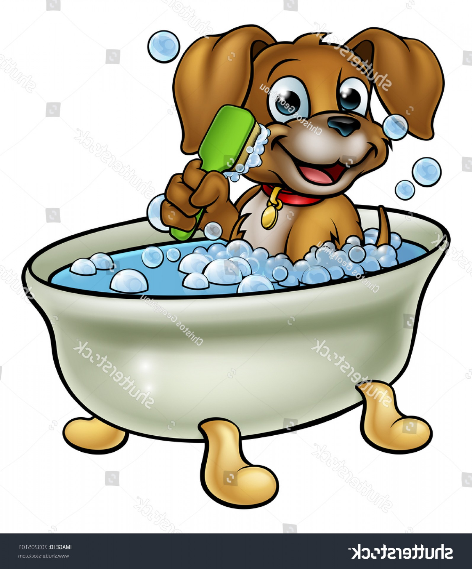 Double Boxer Dog Vector: Cartoon Dog Having Bath Scrubbing Grooming