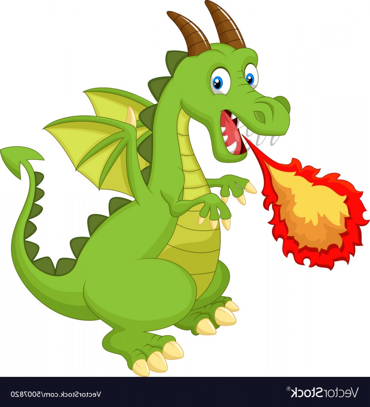 Dragon Fire Vector: Cartoon Dragon With Fire Vector