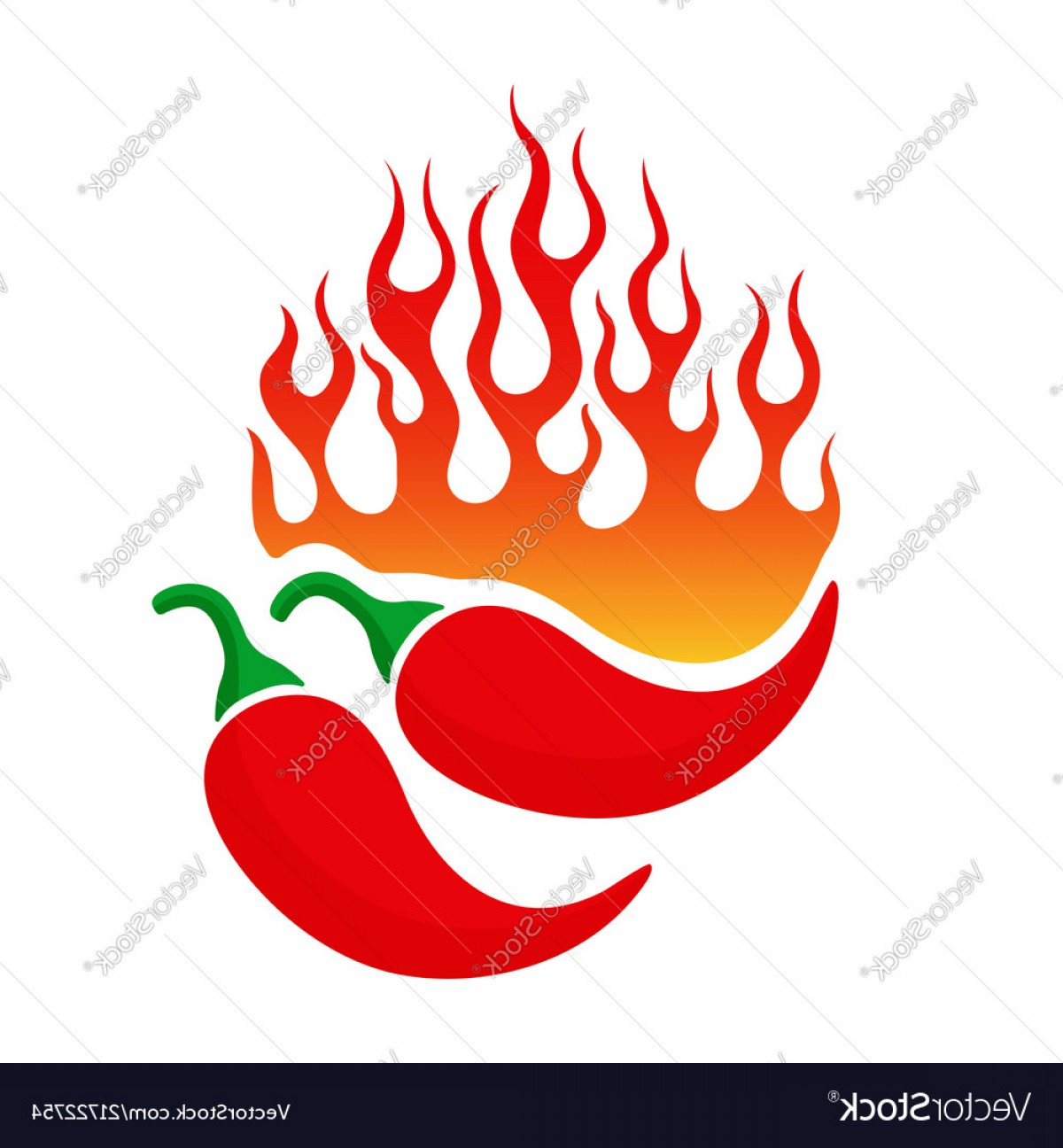 Cartoon Fire Flames Vector: Cartoon Emblem With Chili Pepper And Fire Flame Vector