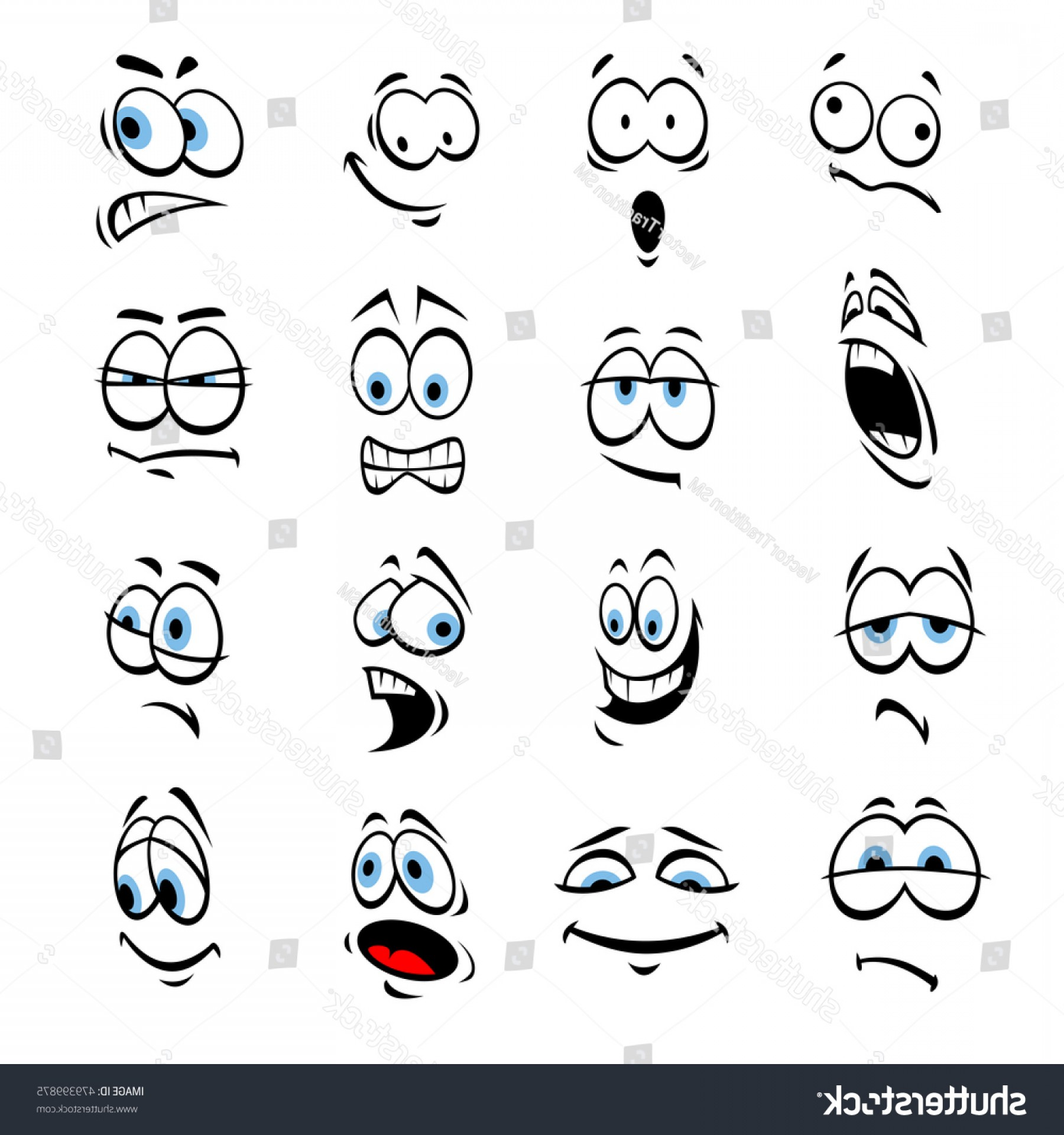 Green Cartoon Eyes Vector Png: Cartoon Eyes Face Expressions Emotions Cute