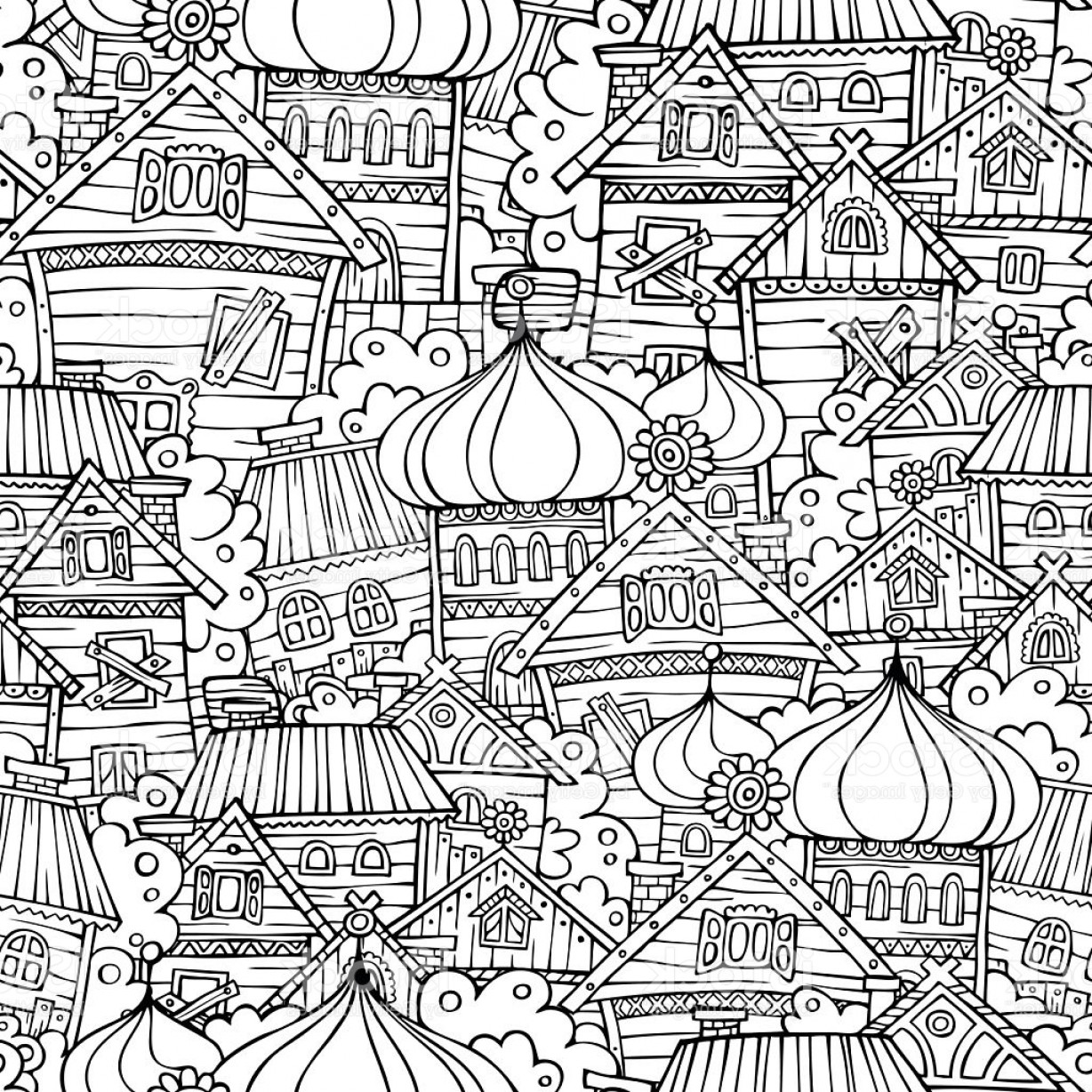 Russian Patterns Vector: Cartoon Fairy Tale Drawing Russian Village Seamless Pattern Gm