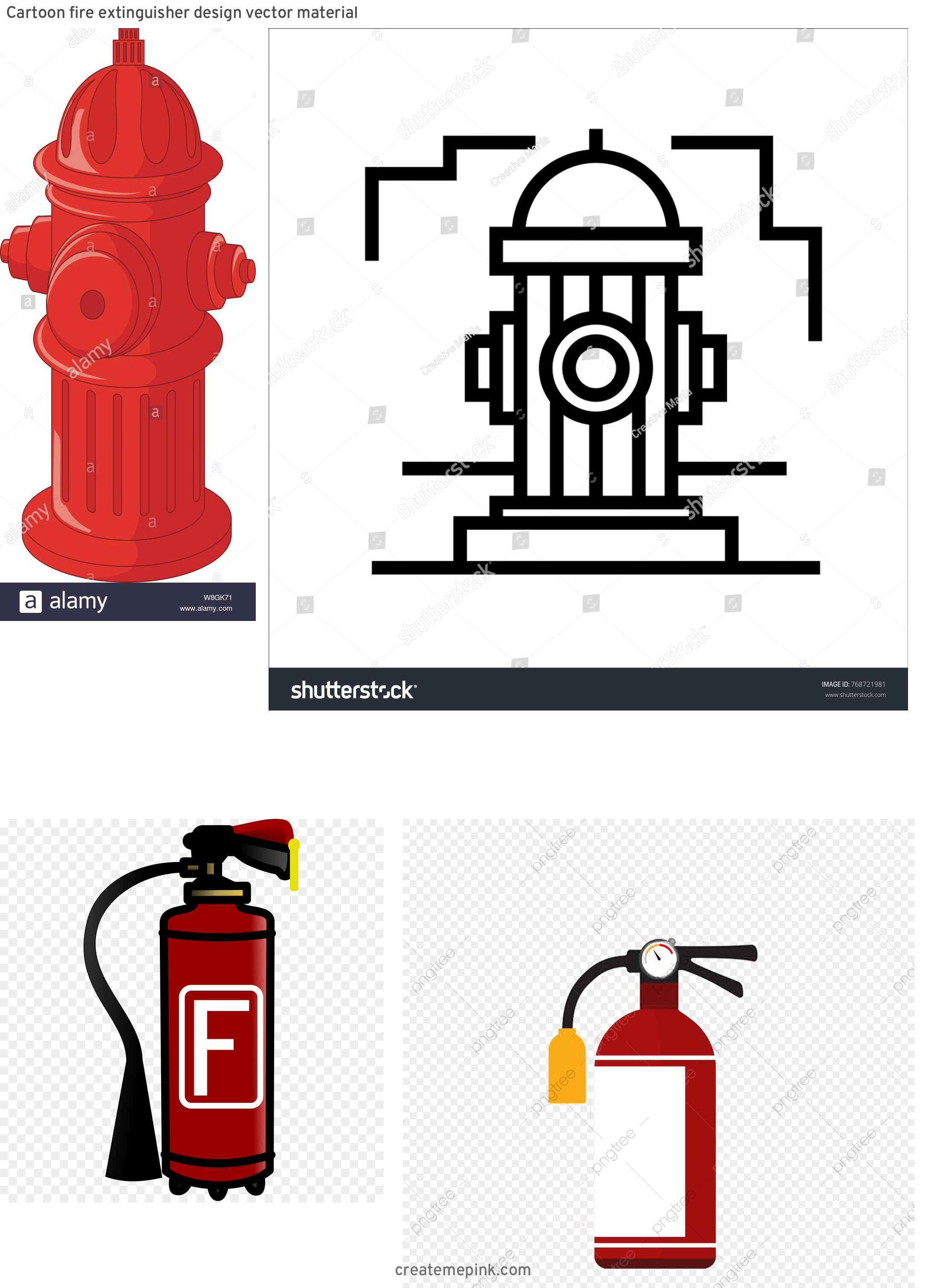 Fire Hydrant Vector Clip Art: Cartoon Fire Extinguisher Design Vector Material