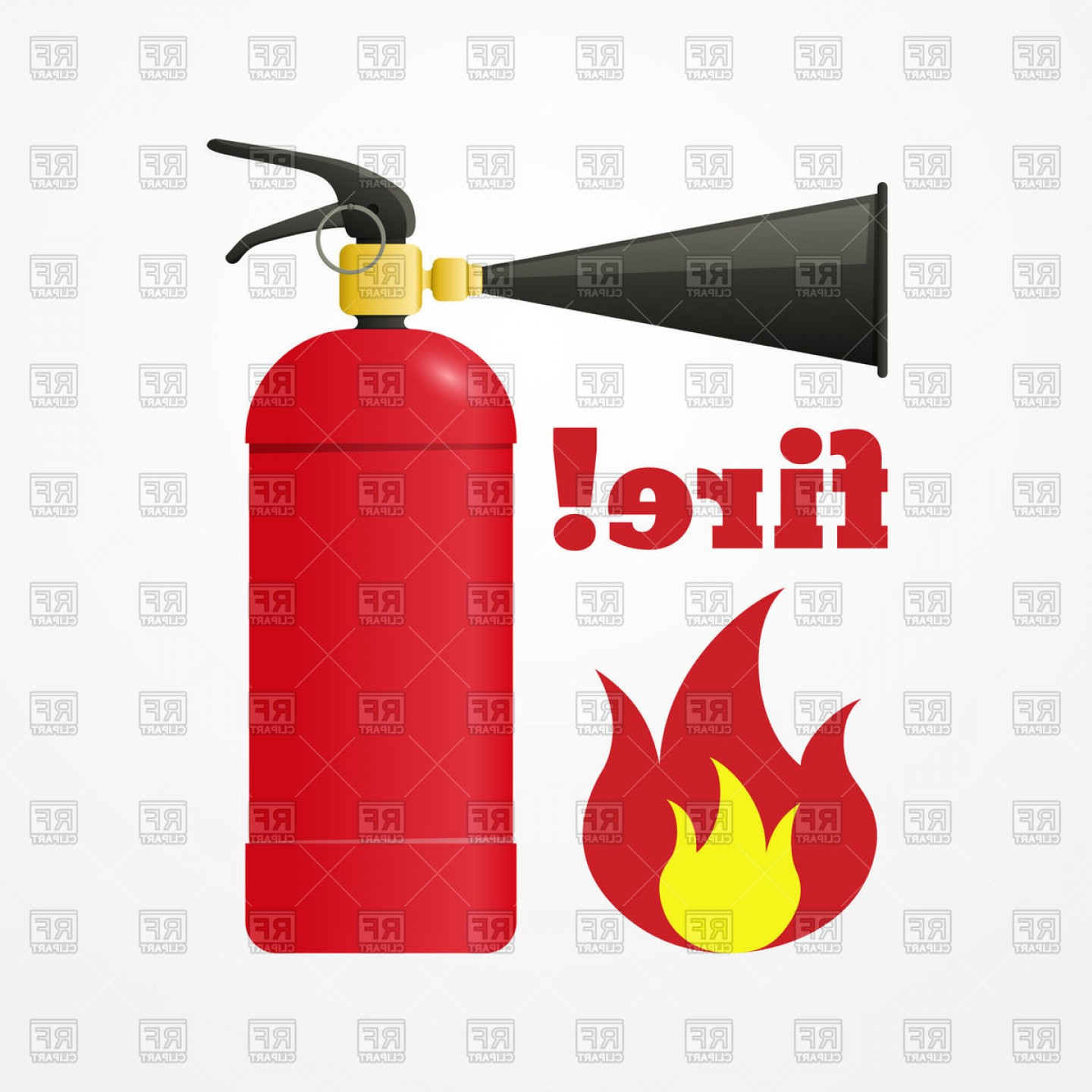 Cartoon Fire Flames Vector: Cartoon Fire Extinguisher With Flame Vector Clipart