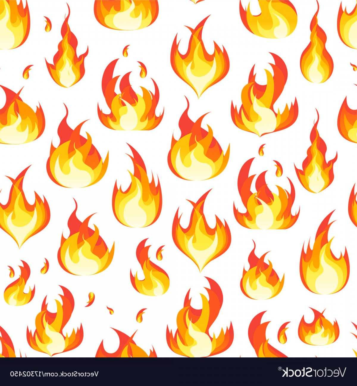 Cartoon Fire Flames Vector: Cartoon Fire Flames Background Pattern On A White Vector