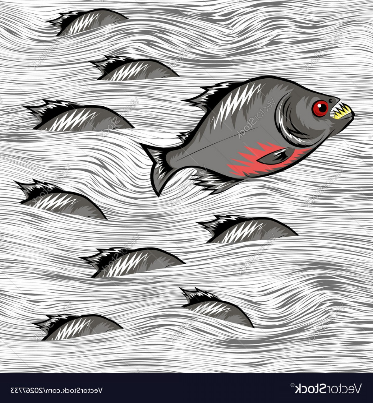 Cartoon Water Background Vector Clip Art: Cartoon Fish Swimming On Water Background Vector
