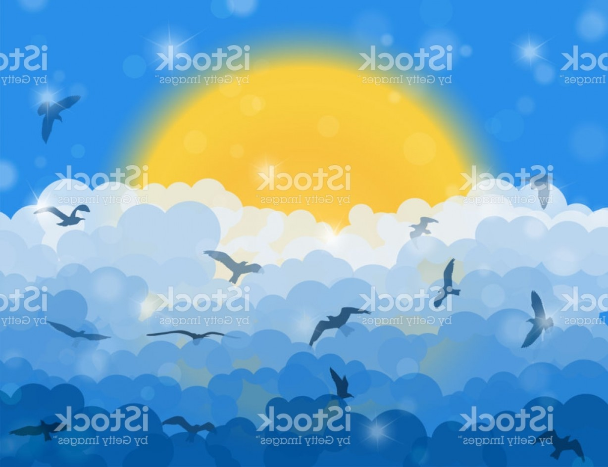 Blue Background Vector Cartoon Sun: Cartoon Flying Birds In Clouds On Sun And Blue Shining Sky Background Gm
