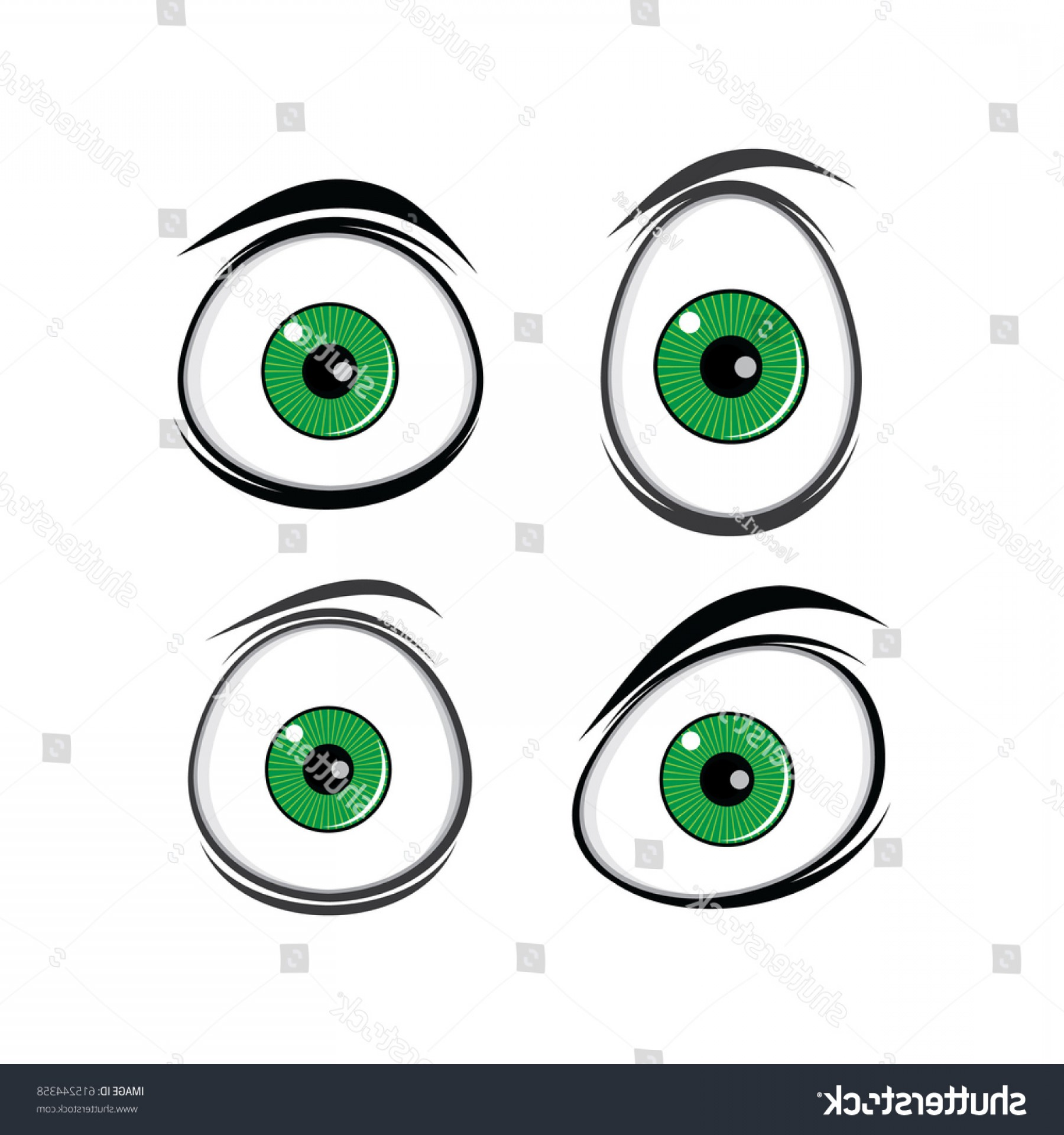 Green Cartoon Eyes Vector Png: Cartoon Funny Green Eyes Comics Design