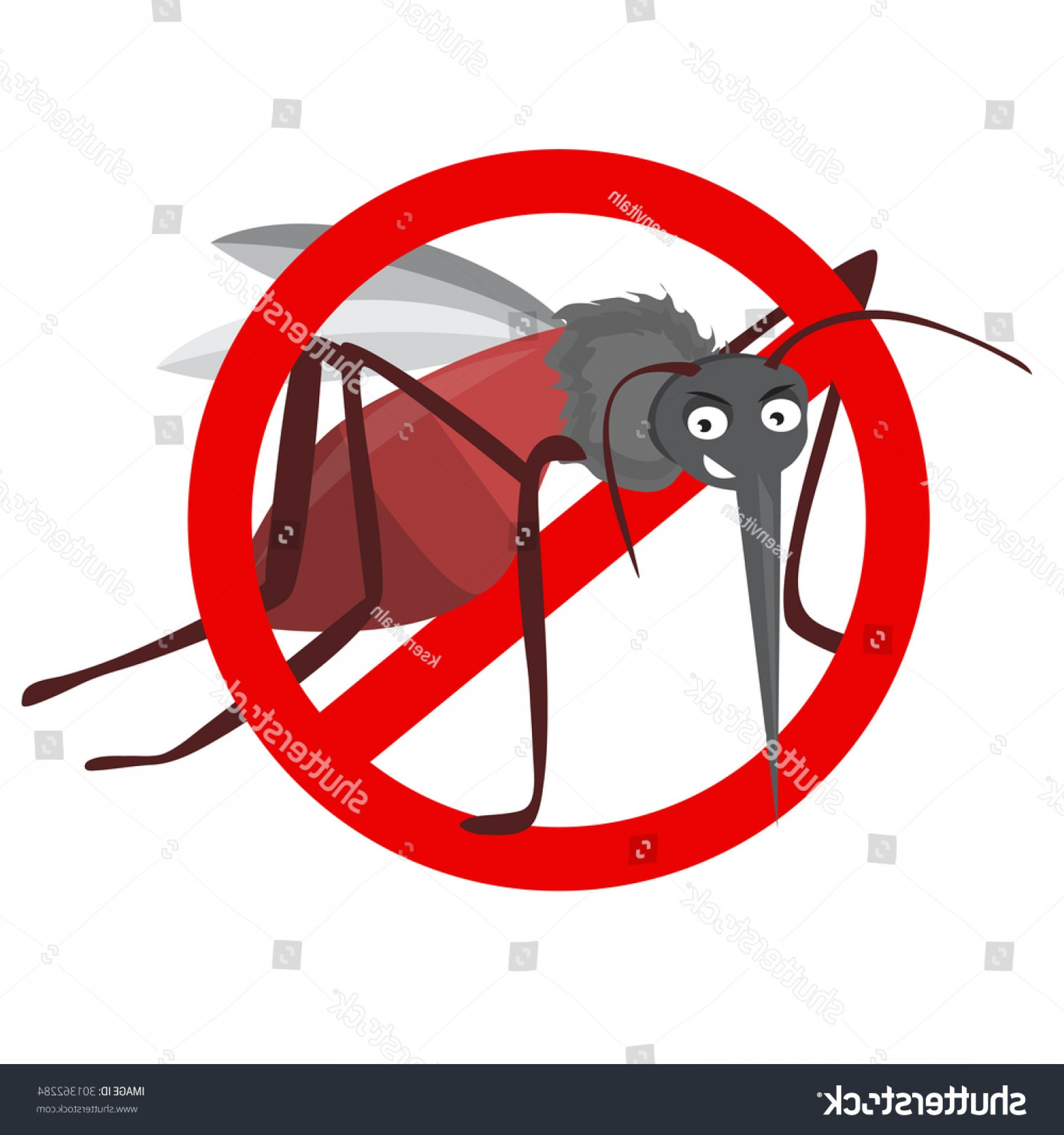 Vector Ban Plus Insecticide: Cartoon Funny Mosquito Illustration On White