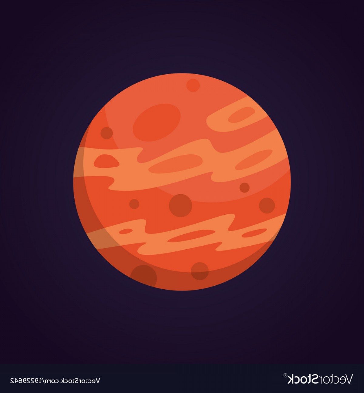 Planets Vector Graphics: Cartoon Funny Of Red Planet Vector