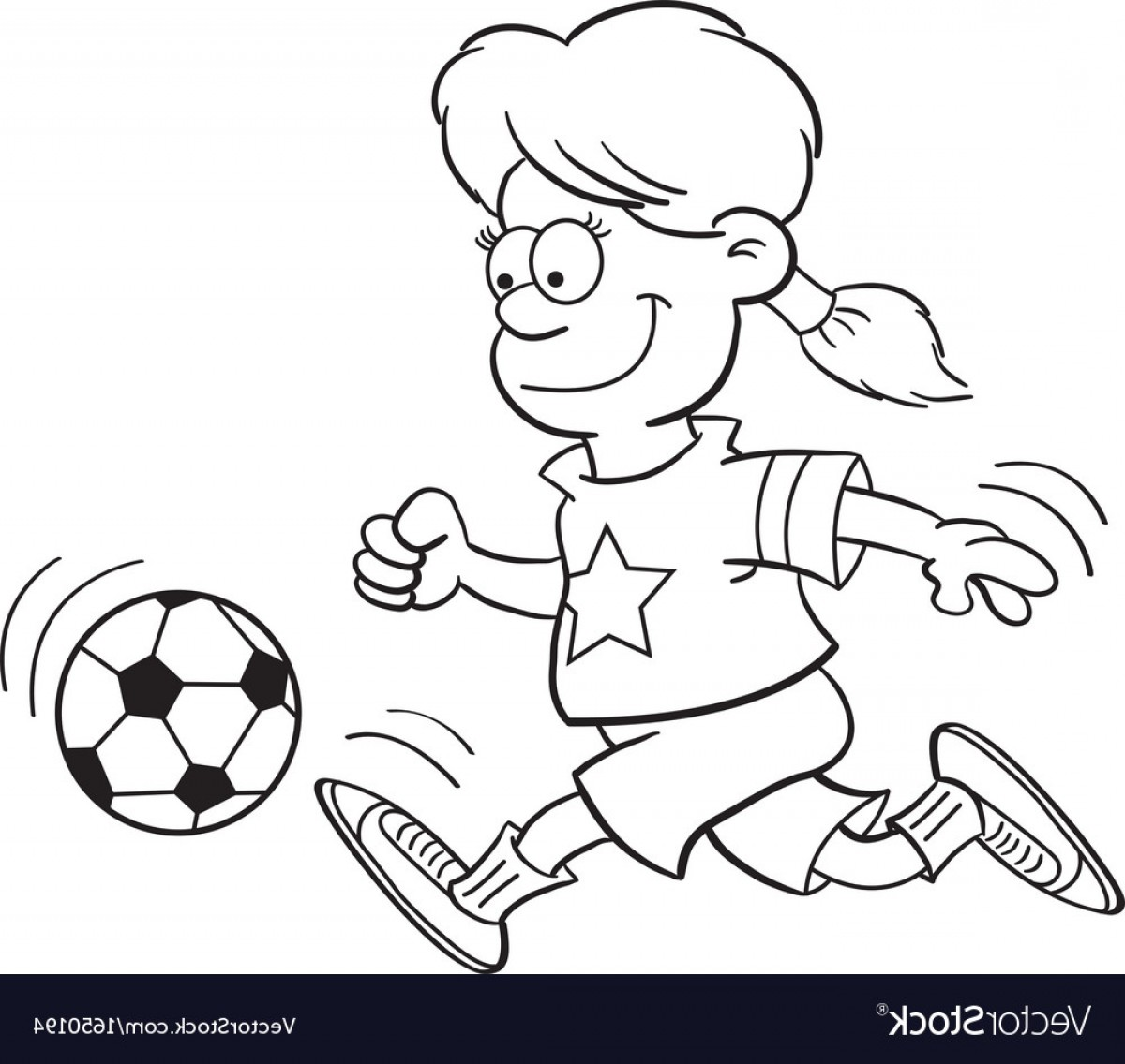 Vector Football Girl: Cartoon Girl Playing Soccer Vector