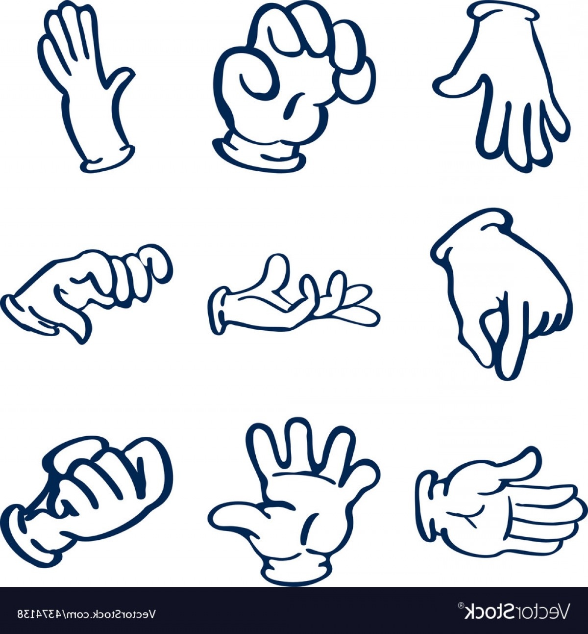 Hand Vector Clip Art: Cartoon Gloved Hands Clip Art Vector