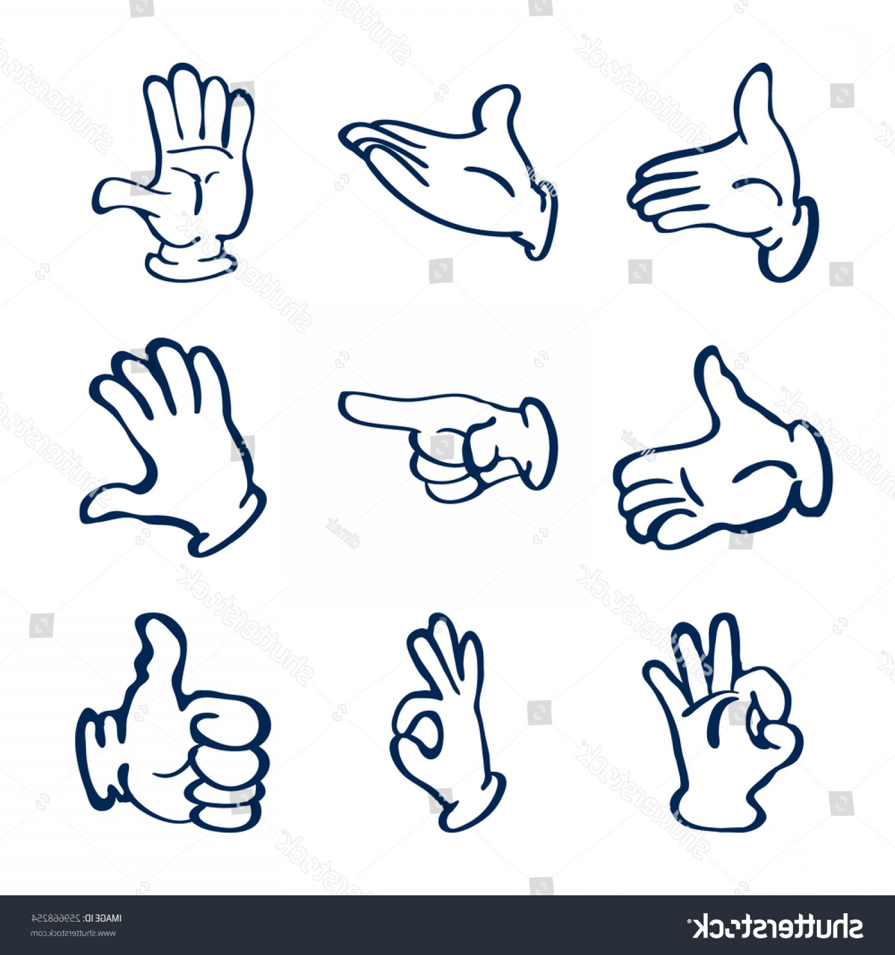 Hand Vector Clip Art: Cartoon Gloved Hands Vector Clip Art