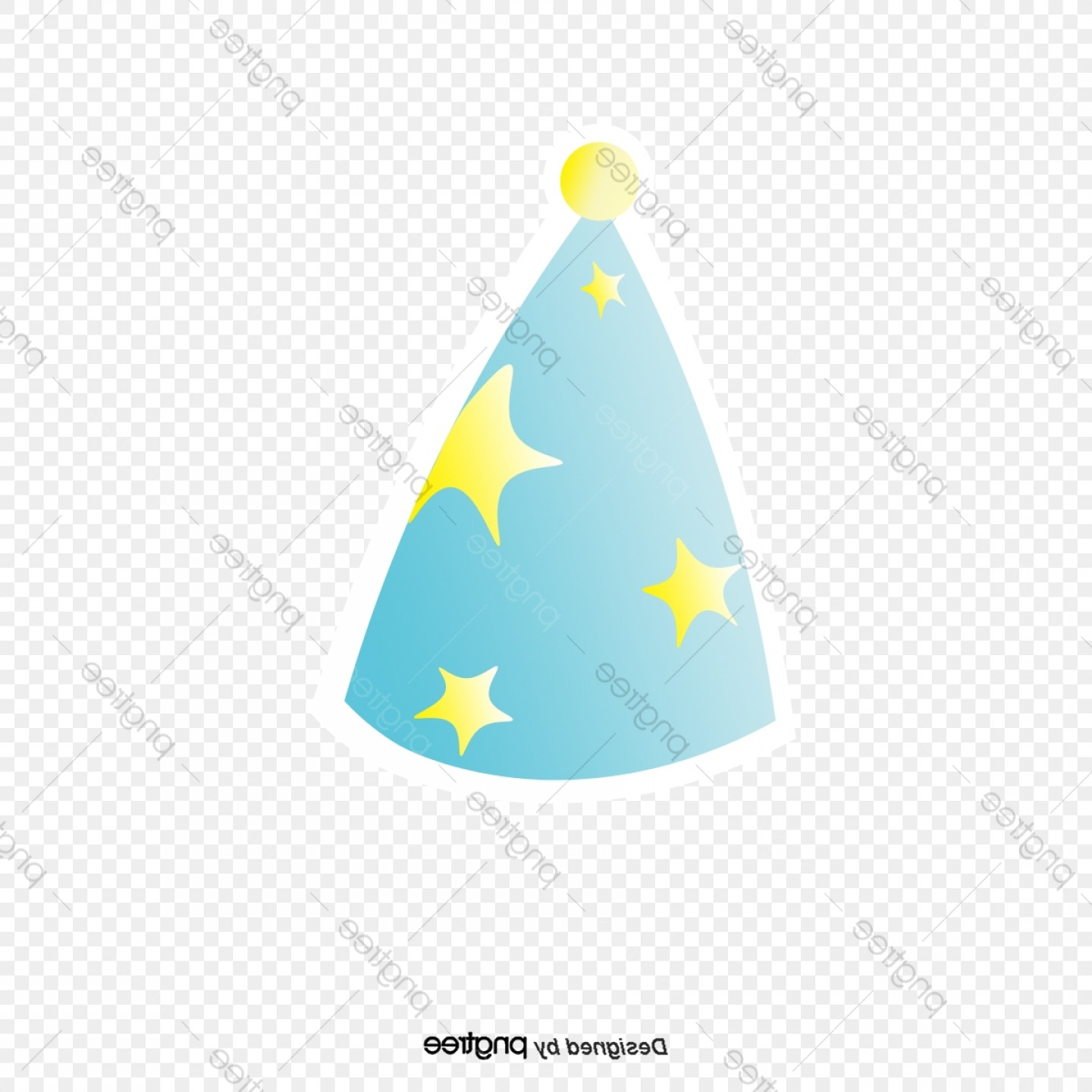 Teal Birthday Hat Vector: Cartoon Hand Painted Birthday Hat Vector Png