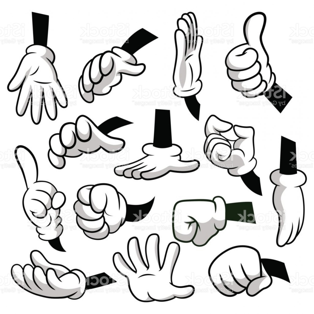 Hand Vector Clip Art: Cartoon Hands With Gloves Icon Set Isolated On White Background Vector Clipart Parts Gm